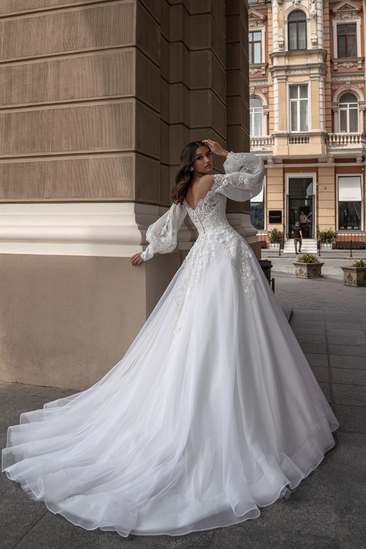 Silviamo Puff Sleeve Wedding Dress S-559-IRENE
