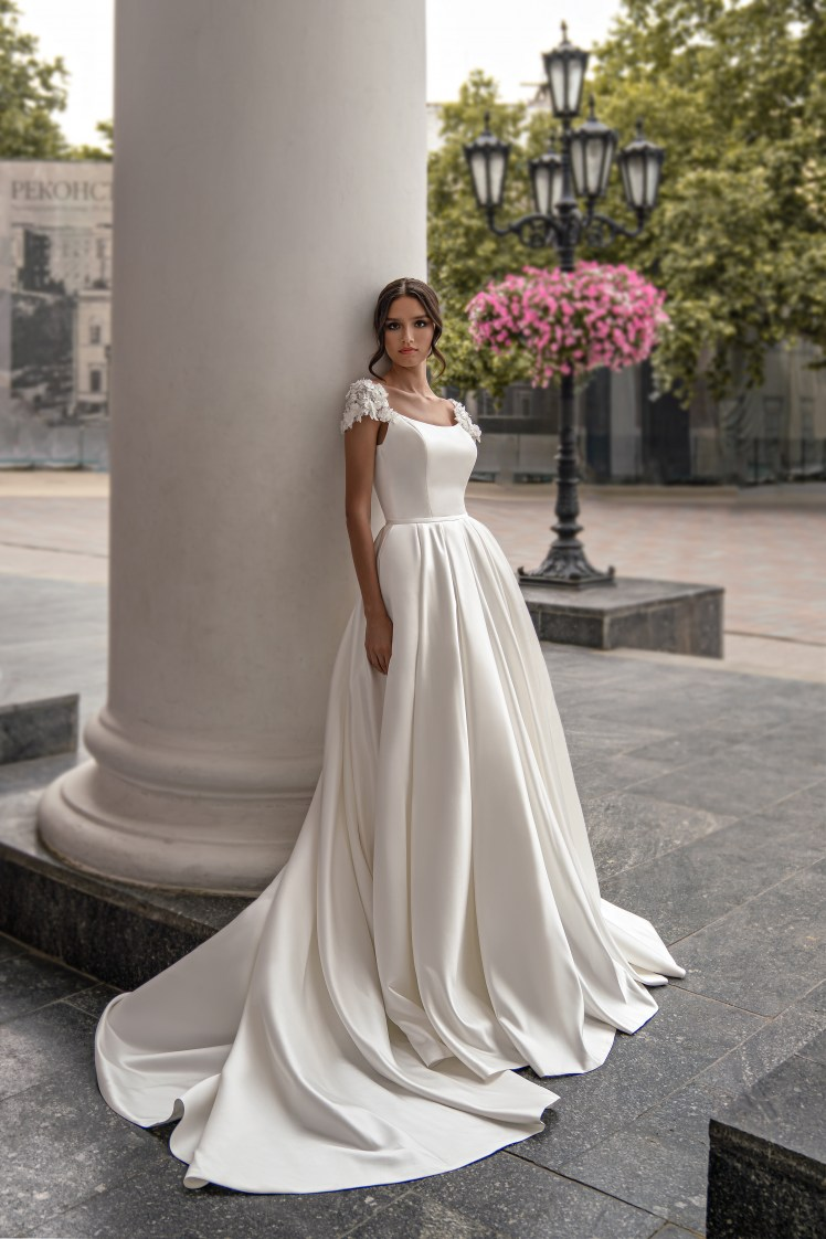 Wedding dress with train from Silviamo S-565-IVETA