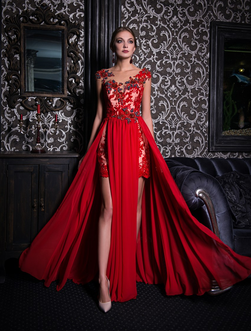 Evening dress with two front cutouts V-155