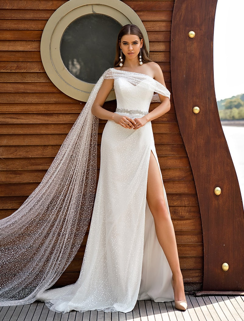 One shoulder wedding dress wholesale from Silviamo-1