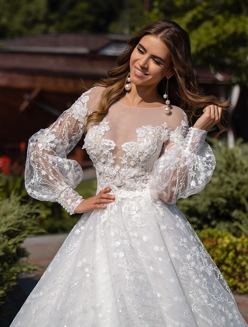 Свадебное платье из цветочного гипюра оптом от Silviamo-1