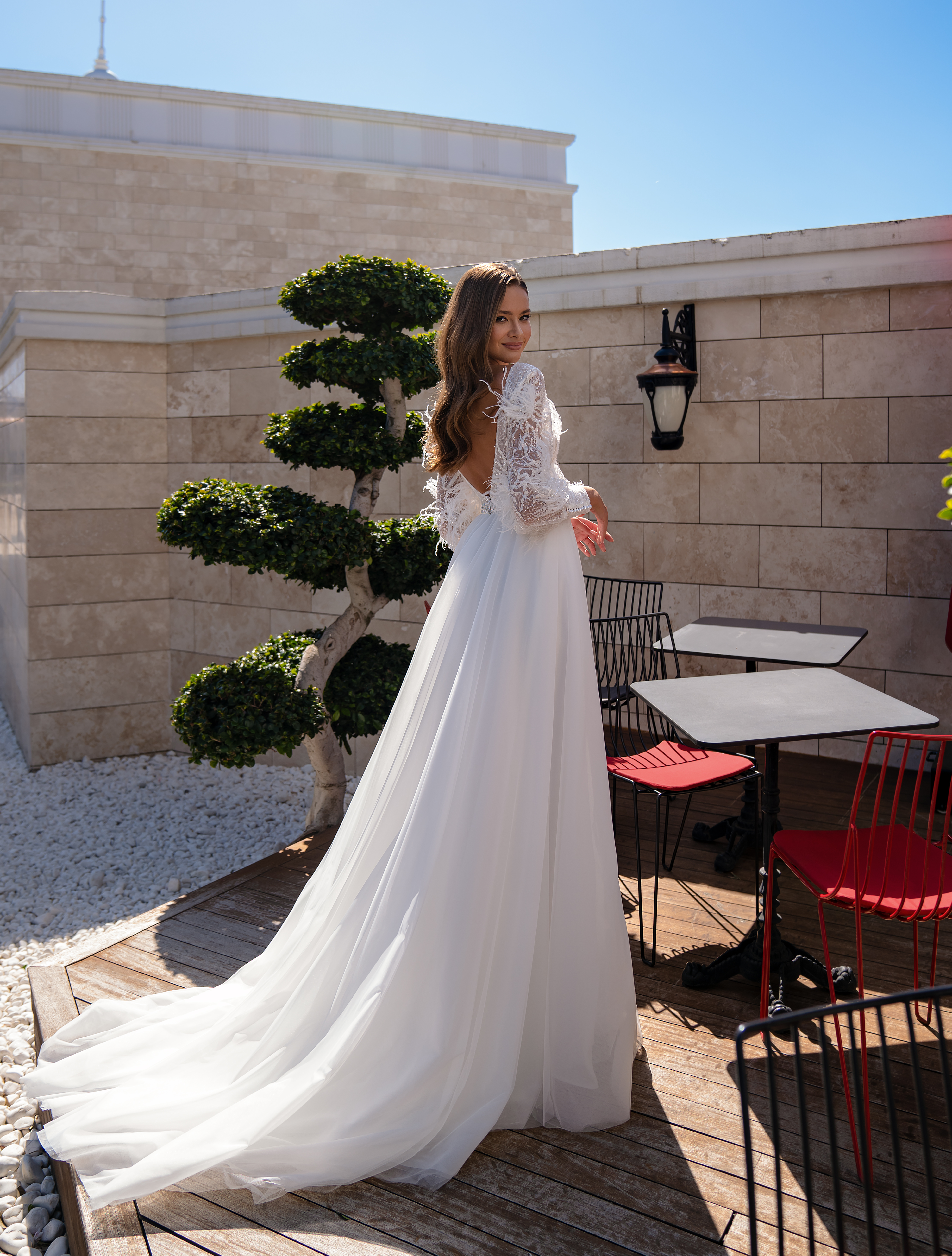Original wedding dress with long sleeves-1
