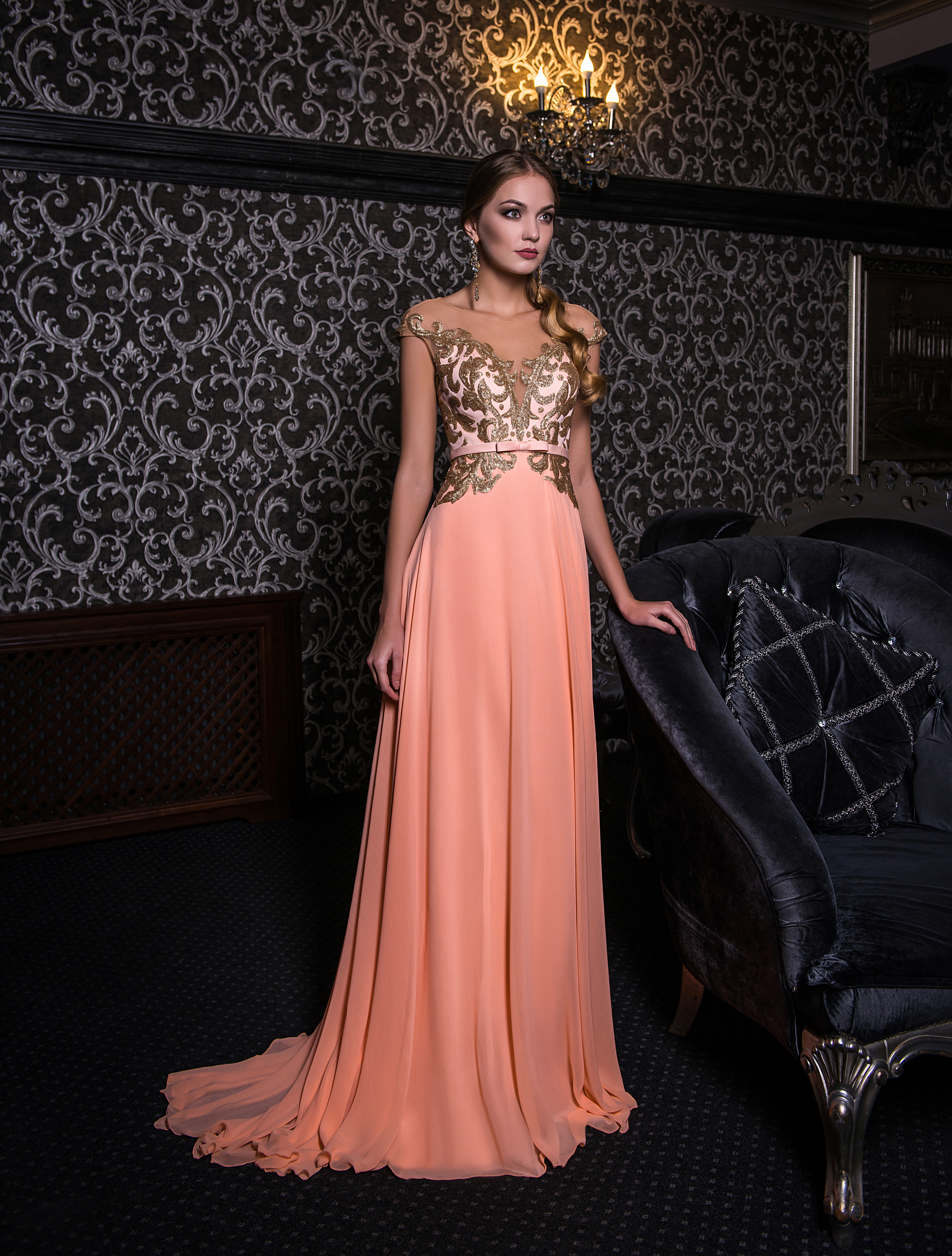 Evening dress with gold sequins-1