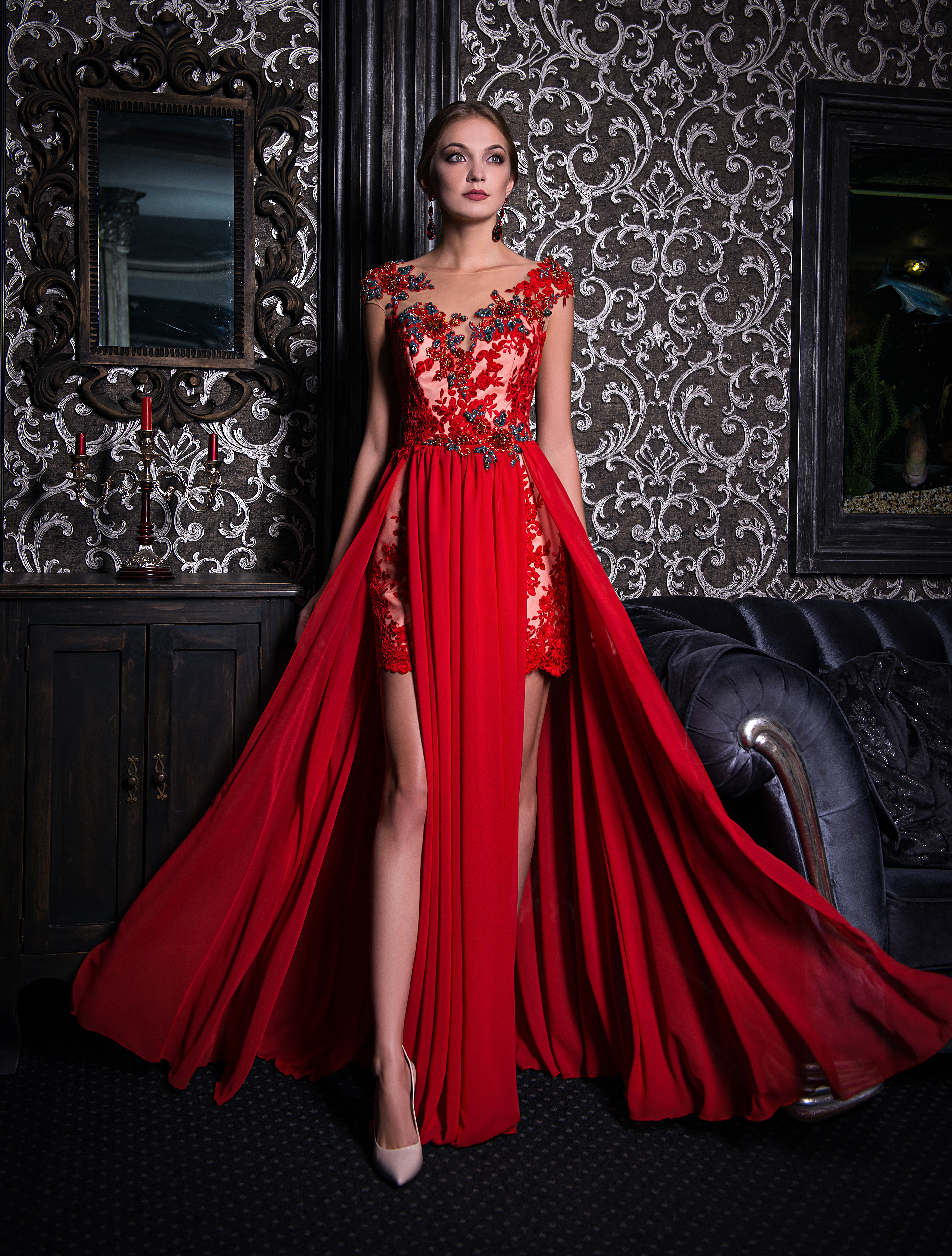 Evening dress with two front cutouts-1