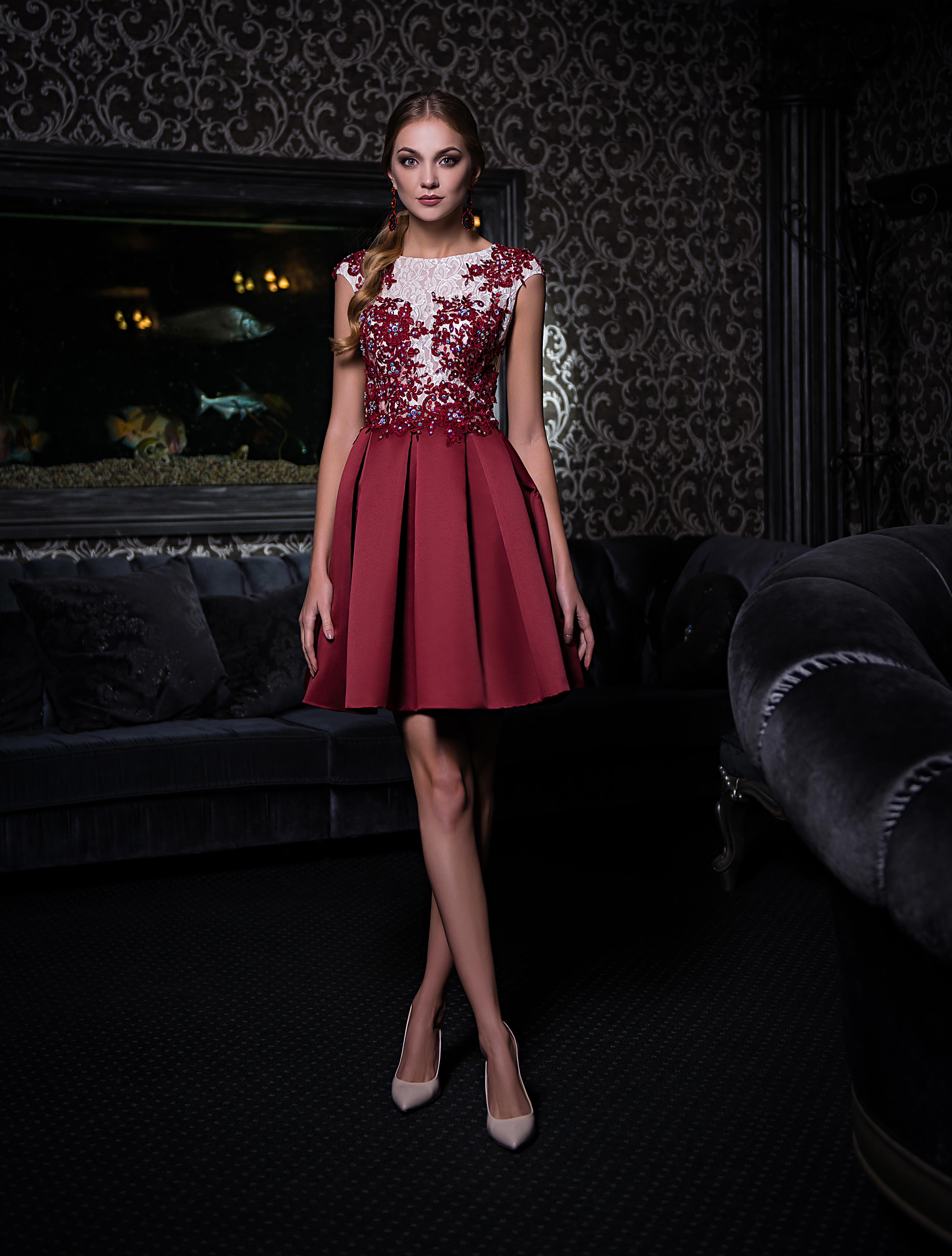 Evening dress with a semitransparent bodice-1